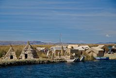 Lake Titicaca, Peru. The floating village of Uros on Lake Titicaca in Peru Royalty Free Stock Image