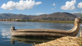 Lake Titicaca, Peru. Reed boat on Lake Titicaca, Peru Royalty Free Stock Photo