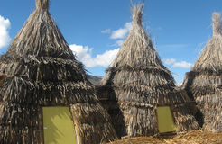 Lake Titicaca, Peru. Tourist accommodation in a Village on Lake Titicaca, the World's highest Lake, Peru Stock Image