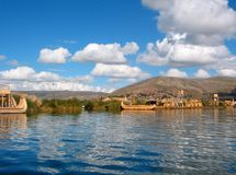 Lake Titicaca, Peru. Village and reed boats on Lake Titicaca, the World's highest Lake, Peru Stock Photos