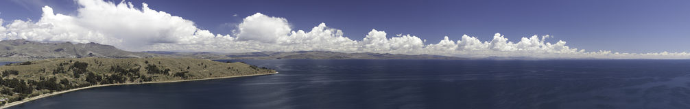 Lake titicaca between Peru and Bolivia panorama stock photo