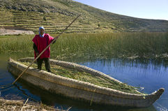 Lake Titicaca Reed Boat - Bolivia. Local man in a traditional Urus-Iruitos reed boat on Lake Titicaca in Bolivia (altitude 3809m  12497ft Royalty Free Stock Images