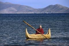 Lake Titicaca Reed Boat - Bolivia - South America Stock Image