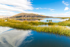 Lake Titicaca,South America, located on border of Peru and Bolivia. Royalty Free Stock Photos
