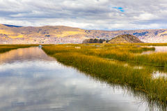 Lake Titicaca,South America, located on border of Peru and Bolivia. It sits 3,812 m above sea level Stock Image