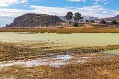 Lake Titicaca,South America, located on border of Peru and Bolivia  It sits 3,812 m above sea level Royalty Free Stock Photo