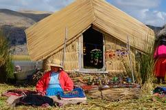 Lake Titicaca souvenir seller stock photo