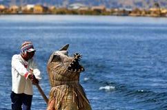 Lake Titicaca totora boat driver Royalty Free Stock Photos