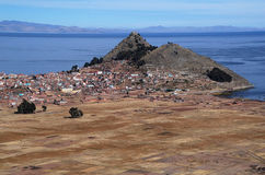 Lake Titicaca and town Copacabana. In Bolivia Royalty Free Stock Image