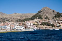 Lake Titicaca and town Copacabana Stock Image