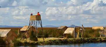 Lake Titicaca watch tower watchers Royalty Free Stock Image