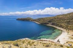 Lake Titikaka. Landscape of the Titicaca Lake, at Isla del Sol island in Bolivia Royalty Free Stock Photos