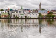 Lake Tjornin in the city of Reykjavik, Iceland. Stock Images