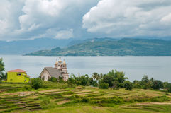 Small church on the shores of Lake Toba Royalty Free Stock Photos
