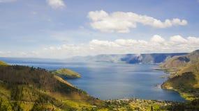Lake toba eller danau toba i Indonesien Arkivfoto