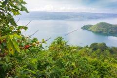 Lake toba, indonesia. From coffee farm royalty free stock photos