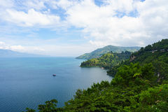 Lake Toba in North Sumatra - Indonesia. View of lake Toba in North Sumatra - Indonesia as one of the biggest volcanic lake royalty free stock image