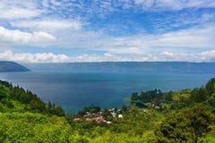 Lake Toba in North Sumatra - Indonesia. View of lake Toba in North Sumatra - Indonesia as one of the biggest volcanic lake stock images