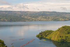 Lake Toba and volcano Stock Photo