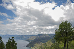 Lake Toba and volcano Stock Image