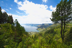 Lake Toba and volcano Stock Images