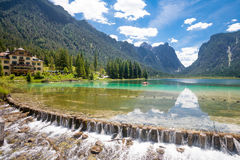 Lake Toblach. Lake Dobbiaco from the bridge in the Dolomites, Italy (South Tirol royalty free stock images