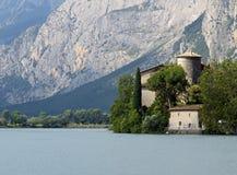 Lake Toblino with the historic castle Stock Photo