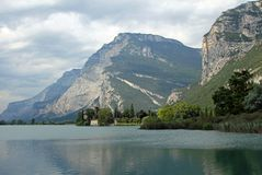 Lake Toblino with the historic castle Royalty Free Stock Photography
