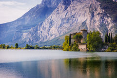 Lake Toblino and Toblino Castle. Trentino, Italy. Stock Images