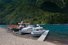 Lake Todos Los Santos. Boats on the shore of Lake Todos Los Santos, X Region, Chile Royalty Free Stock Image