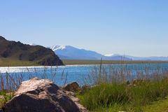 Lake Tolbo-Noor. In Mongolia Stock Photos