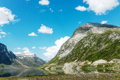 Lake on the top of mountains, Norway Royalty Free Stock Photos