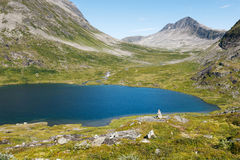 Lake on the top of mountains, Norway Royalty Free Stock Image
