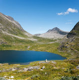 Lake on the top of mountains, Norway Royalty Free Stock Photography
