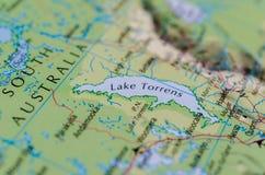 Lake Torrens on map. Close up shot of Lake Torrens on map Royalty Free Stock Photos