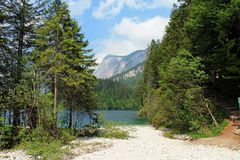 Lake Tovel in the Dolomite Mountains Stock Photo