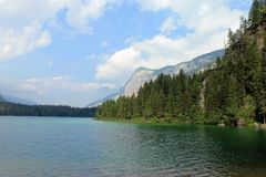 Lake Tovel in the Dolomite Mountains Stock Photos