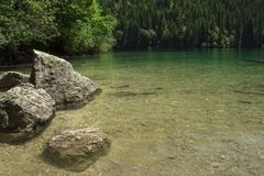 Lake Tovel Trentino Alto Adige, Italy. The crystal water of mountain lake Royalty Free Stock Photo