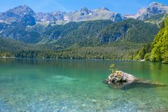 Lake Tovel Trentino Alto Adige, Italy. The crystal water of mountain lake Royalty Free Stock Image