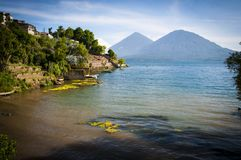 Lake town and mountain in Guatemala Stock Photos
