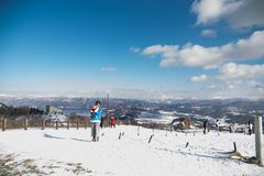 Lake Toya, Japan, January 27, 2018: Mount Usu or Usuzan is popul Stock Image