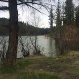 Lake trail hiking with the buddies!. Log cabin hiking trail Stock Photo