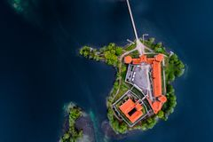 Top visited Lithuanian places, Trakai, aerial photo. Lake in Trakai and its castle, aerial top view. Top visited Lithuanian places royalty free stock photography