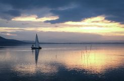 Lake Trasimeno yacht At sunset Stock Image