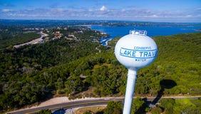 Lake Travis Water Tower Over Paradise Blue Lake royalty free stock photos