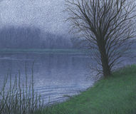 Lake with tree drawing. A color pencil drawing of a lake with trees Royalty Free Stock Image
