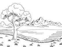 Free Lake Tree Graphic Black White Landscape Sketch Illustration Royalty Free Stock Image - 97362866