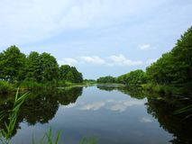 Lake, trees and beautiful clean sky, Lithuania Royalty Free Stock Images