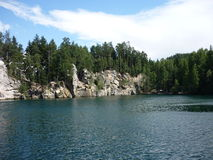 Lake. A lake with trees and rocks in Adrspach, Czech Republic royalty free stock images