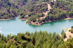 Lake on Troodos mountain system, Cyprus. Royalty Free Stock Images